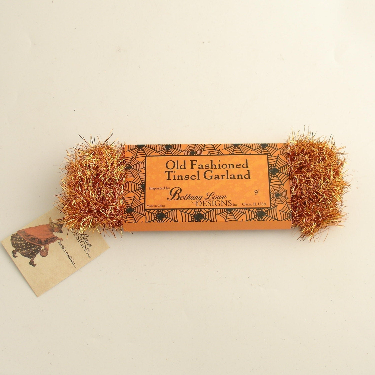 Orange tinsel garland bethany lowe vintage style by efinegifts