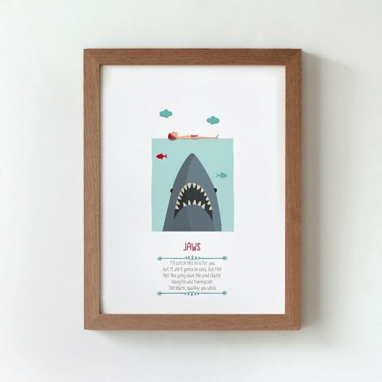 Ilustración. Tiburón. Poster inspirado en la película.