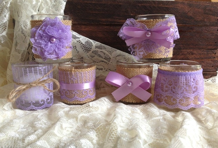 6 burlap and lace covered purple tea Votive candles, bridal shower, wedding decoration, gift or for you