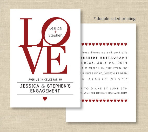 Invitations, Love Philly, Double sided invite for Engagement, Bridal ...