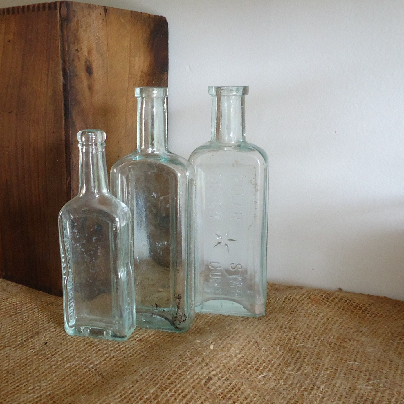 Old Bottles Aqua Blue Bottles Old Medicine By Masonjardecor