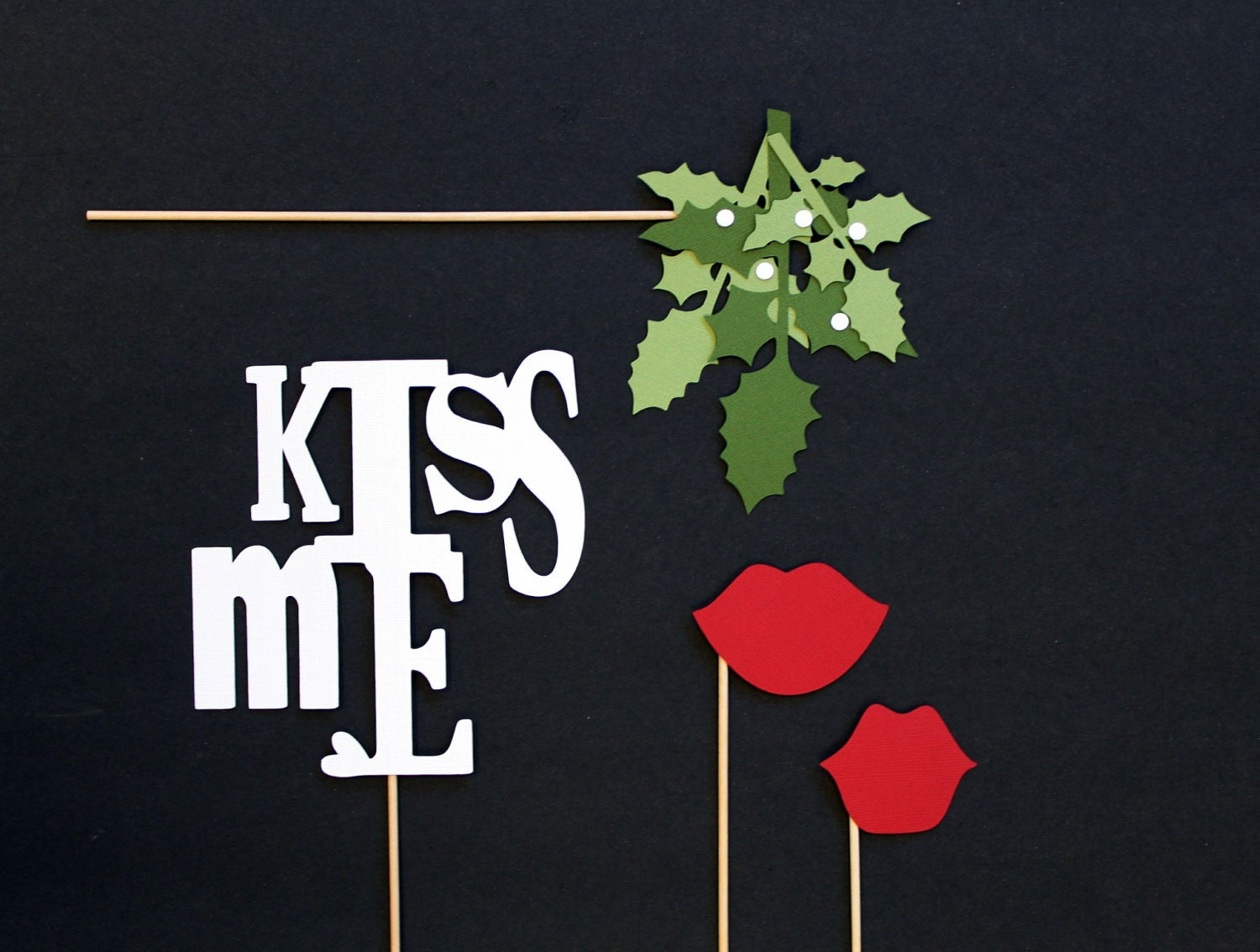 Photo Booth Props. Christmas Photobooth Photo Props. Mistletoe. Holiday Party - LittleRetreats