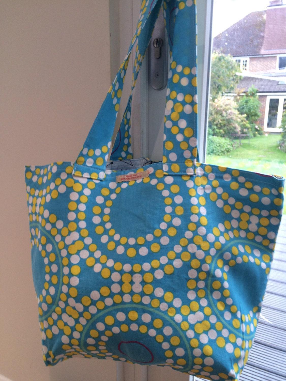 Retro dot blue with yellow and white polka dots  Ikea fabric market totebeach bag