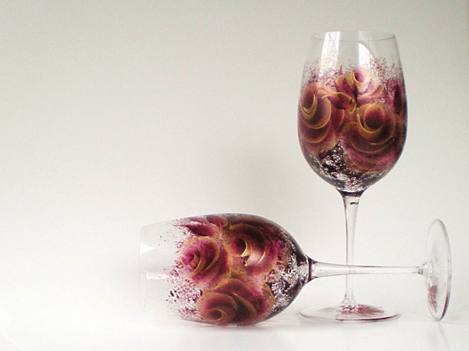 Painted Crystal Wine Glasses - Hand Painted Burgundy Red, Metallic Gold Roses -Set of TWO Abstract Modern - HandPaintedPetals