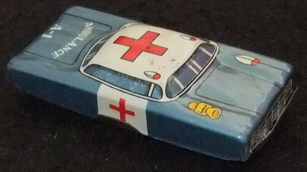 Ambulance vintage tinplate toy vintage c1960s A1 car made in Japan