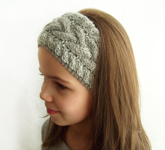 Knit Headband Ear Warmer Grey Cable Knit Headband by KnitsbyVara