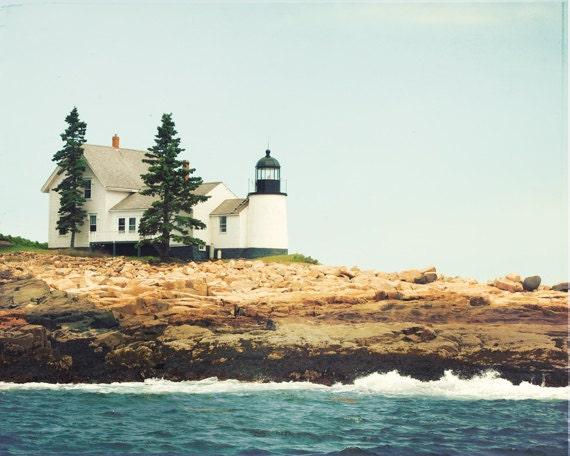 Maine Lighthouse Photography - winter harbor light photograph - new england print - landscape coastal wall art - 8x10 Photograph - CarolynCochrane