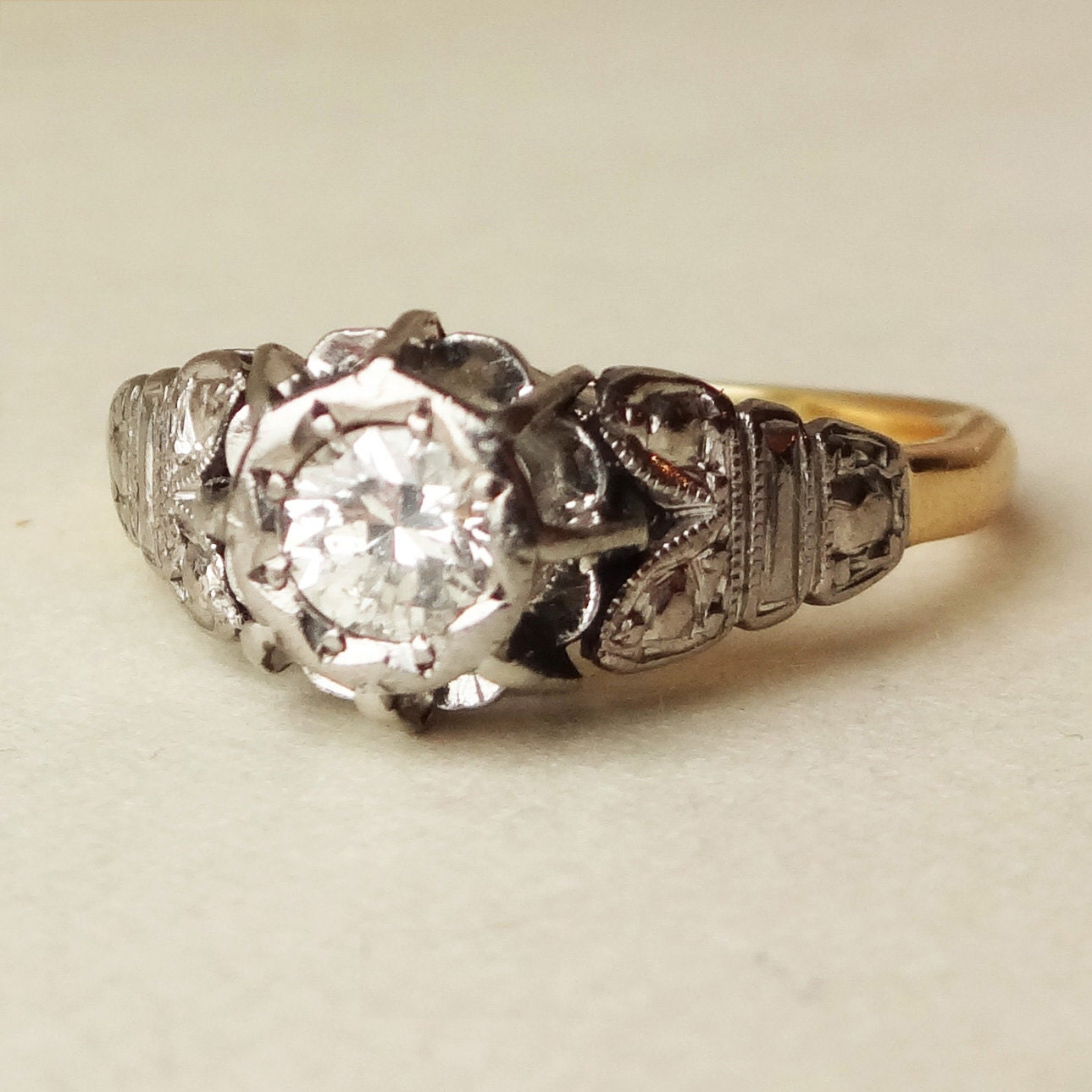 Art Deco 30 Carat Diamond Solitaire Ring Platinum by luxedeluxe