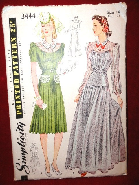 Vintage wedding dress pattern ladies evening dress bridesmaid 39s dress
