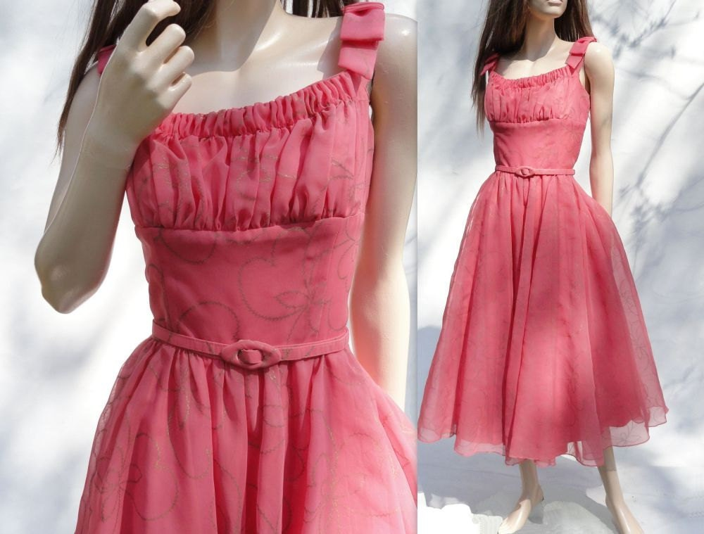 50s Dress / Vintage 1950s Coral Pink Prom / Party Dress / M