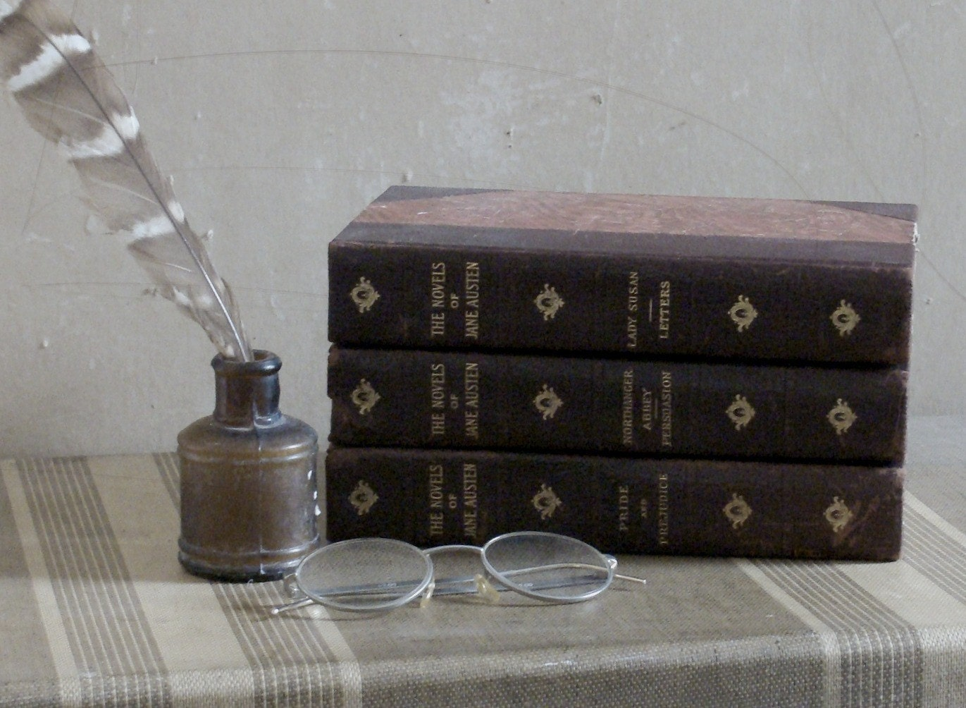 1892 jane austen set of three antique books  from flaxandspindle