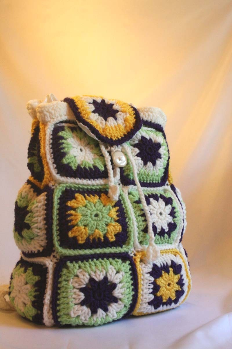 Free Crochet Patterns For Backpack Purse : Crochet Backpack Purse by Stylesbythree on Etsy
