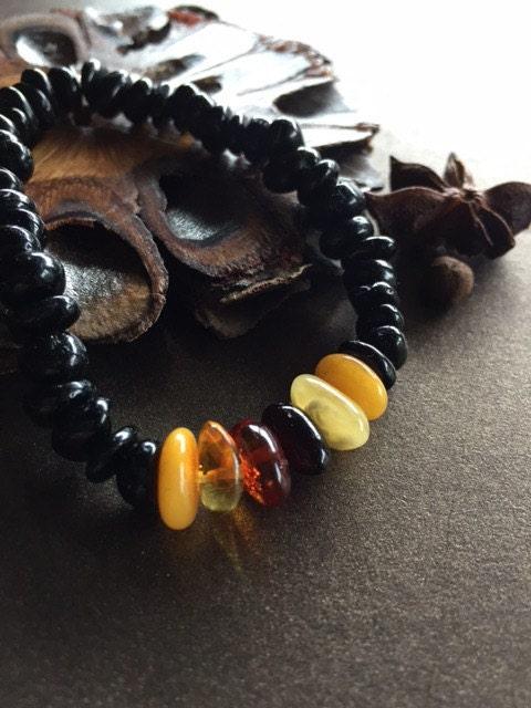 Black Tourmaline and Amber Bracelet