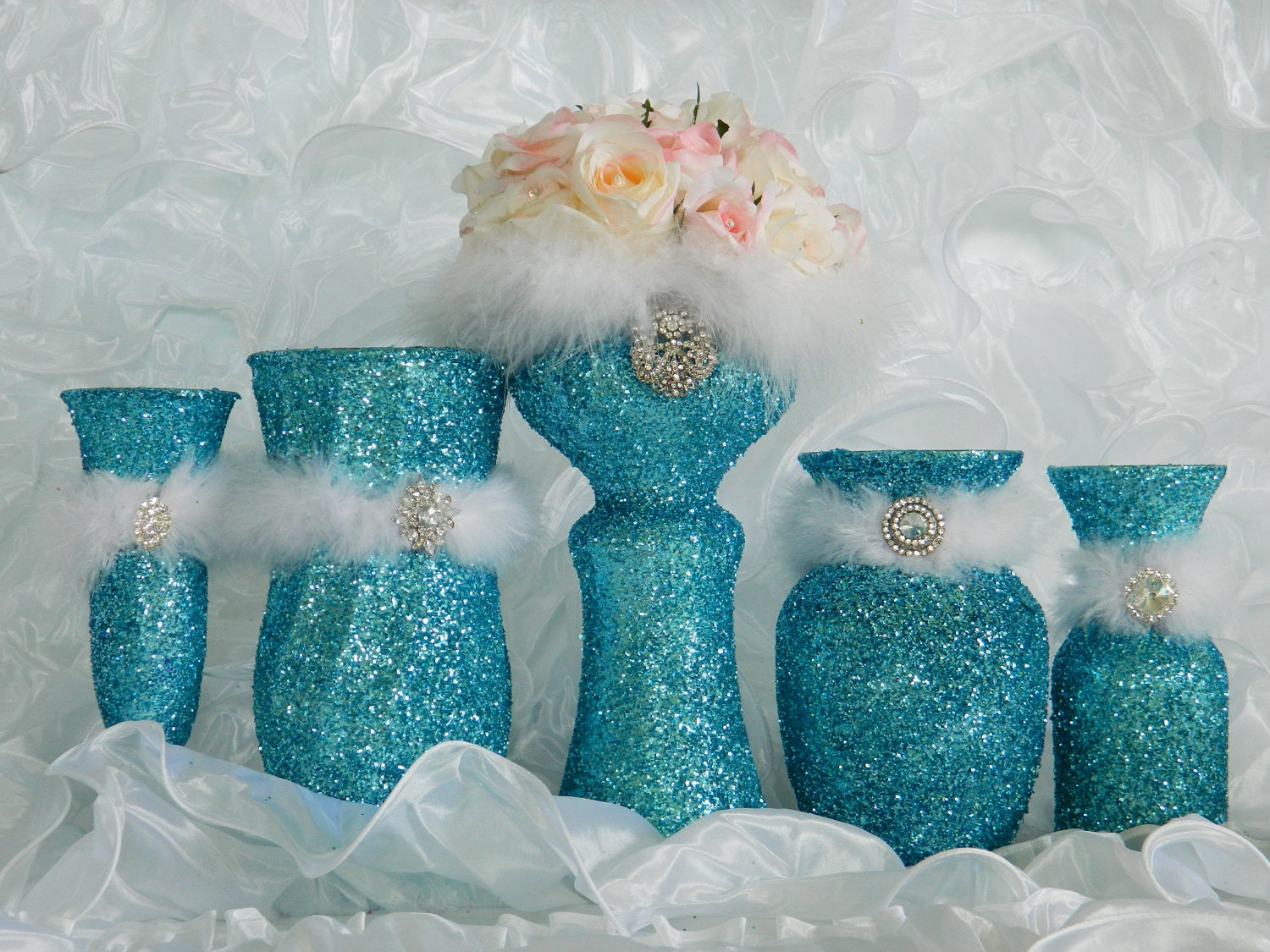 Request a custom order and have something made just for you Quinceanera Centerpieces Blue