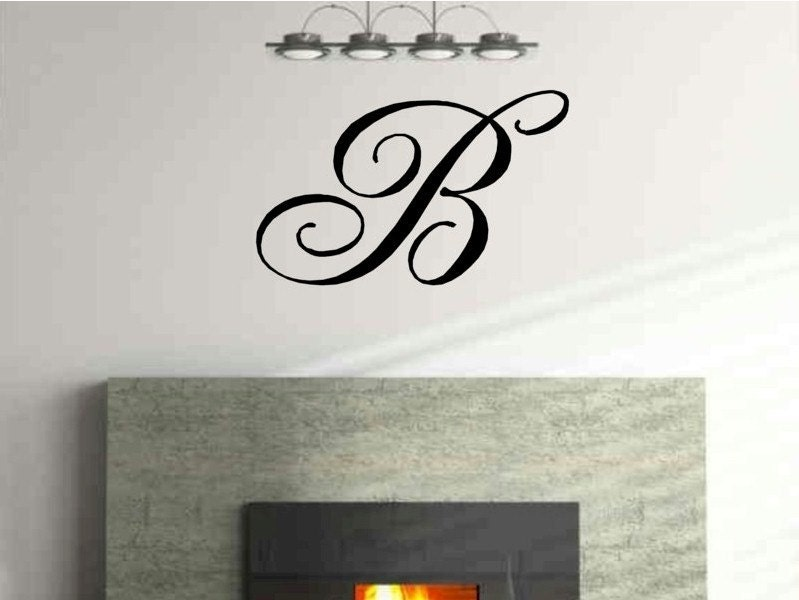 Monogram Single Letter Vinyl Wall Decal by vgwalldecals on Etsy