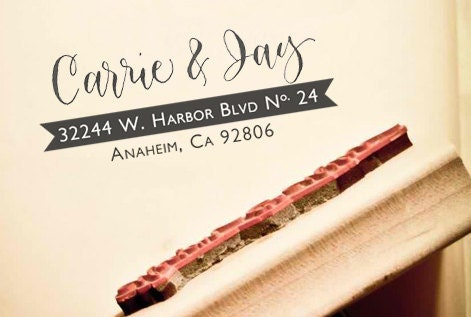 NEW Custom Calligraphy Address Stamp -- Hand Calligraphy and Type -- Elle Style with Banner