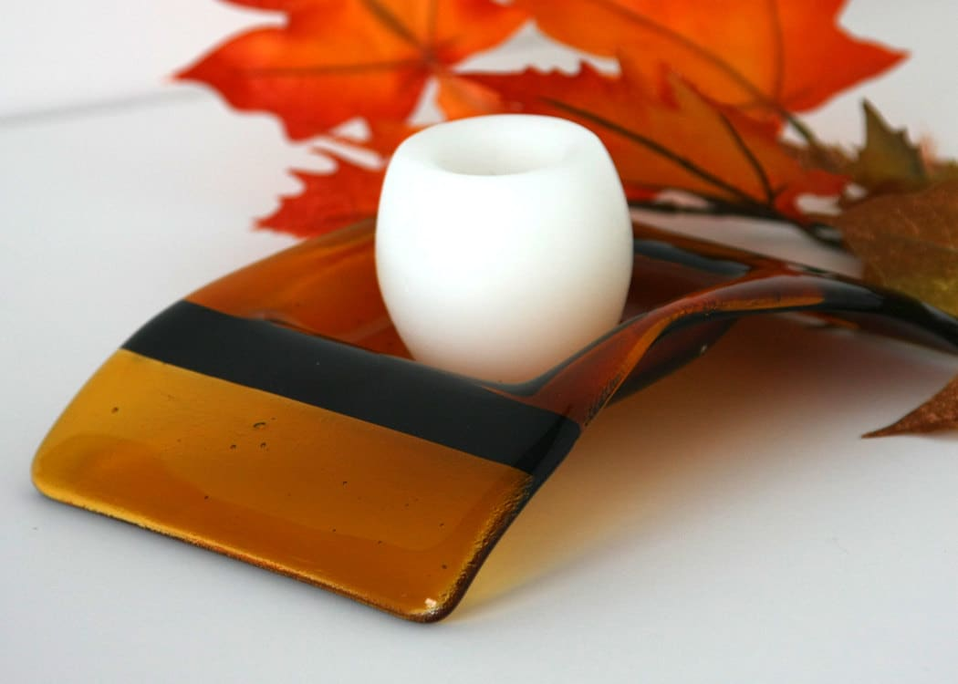 Autum Amber and Brown Fused Glass Candle Bridge Holder, Home Garden Decor Housewares Candles - GetGlassy
