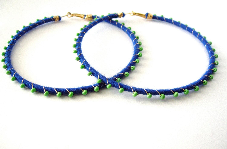 Devi Hoops - Royal Blue & Light Green - LaNomRahDesigns
