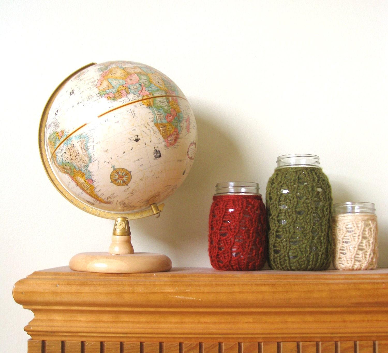 Christmas Mason Jar Candleholders - Olive / Brick / Beige - Set of 3 - meganEsass