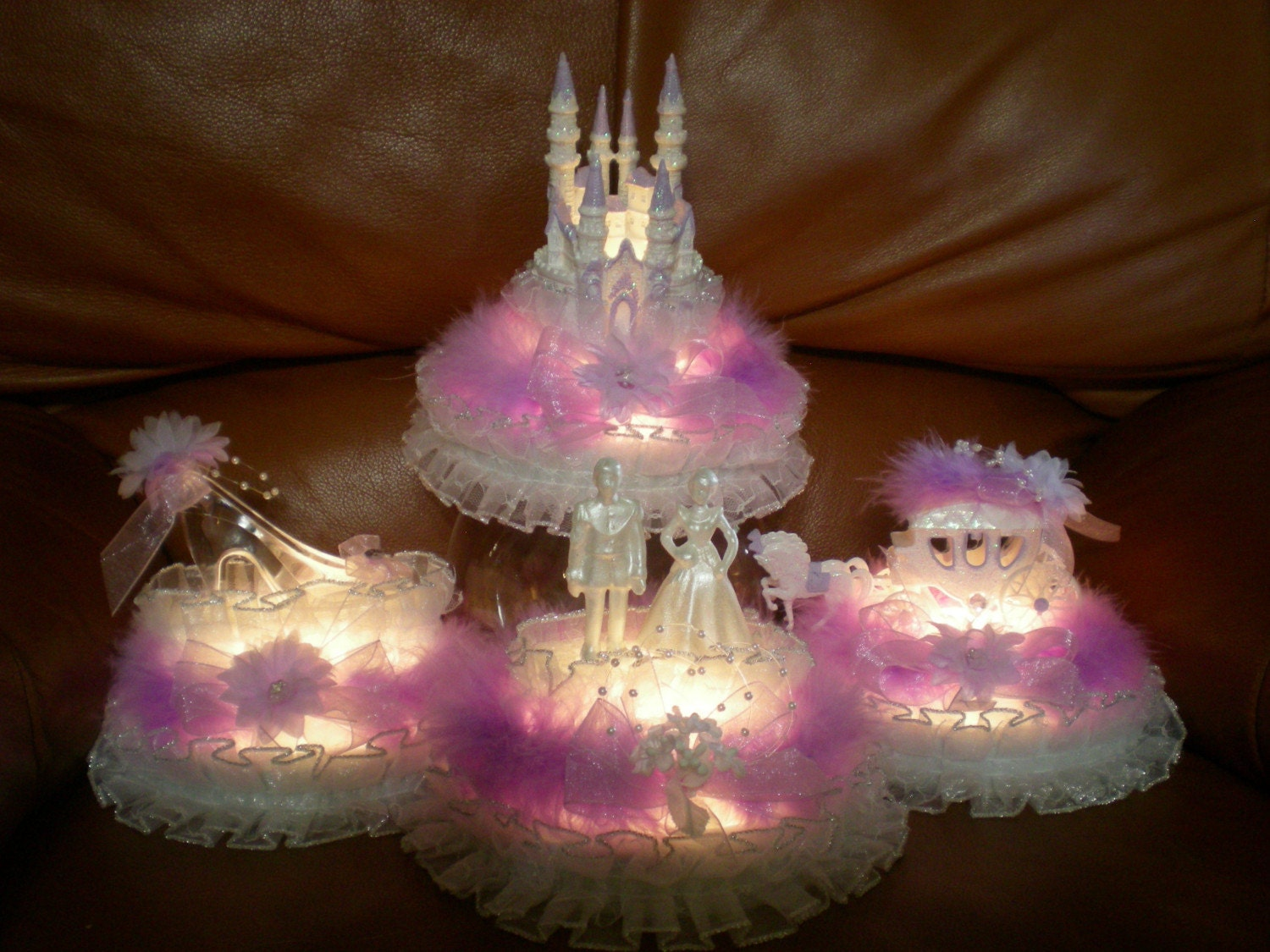 Cinderella slipper centerpiece cake ideas and designs