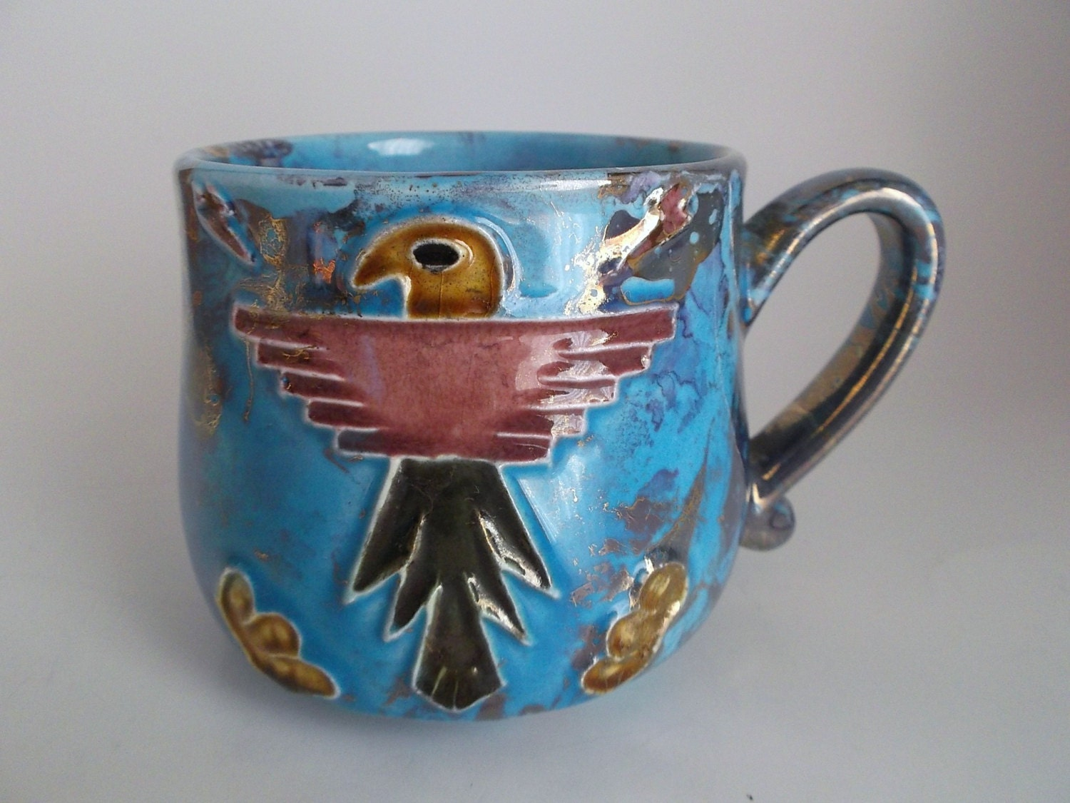 Vintage Ceramic Mug American Eagle Cup Tribal Mug Iridescent Coffee Mug Unique Cup Rare Eagle Mug - theoldtimers