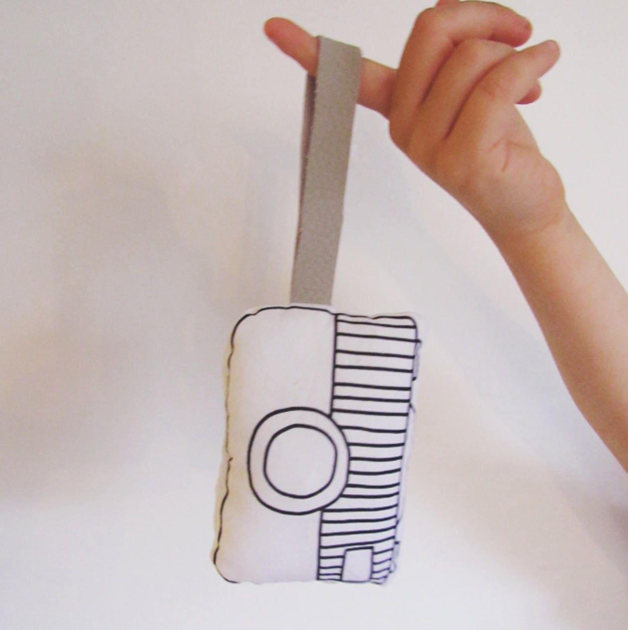 Monochrome Mini Cushion Kids Camera with leather Strap