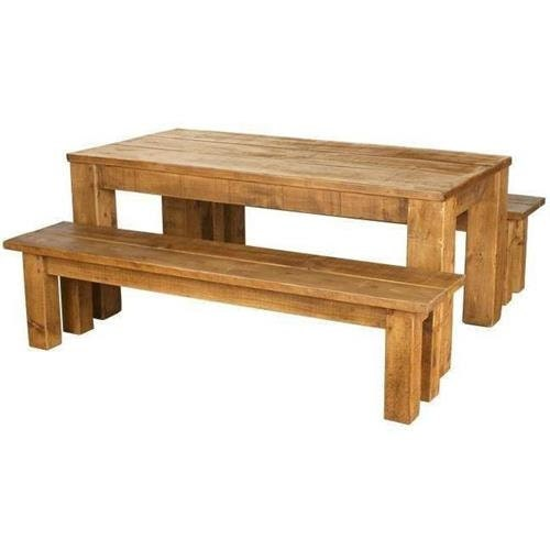 Rustic plank Furniture New Real Solid Wood Chunky Rustic Plank Pine Furniture Dining Table and Benches Set rustic pine furniture sawn finish