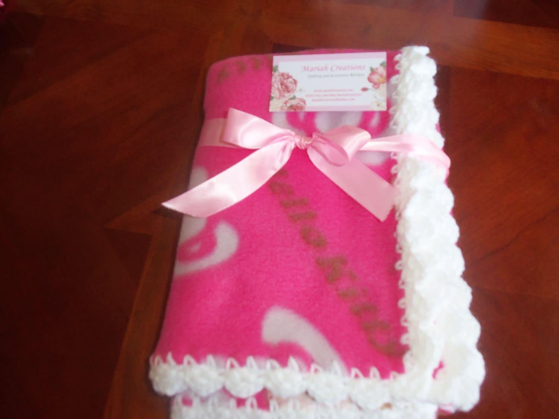 Crochet Pattern For Hello Kitty Baby Blanket : Items similar to Baby Blanket - Hello Kitty Fleece with ...