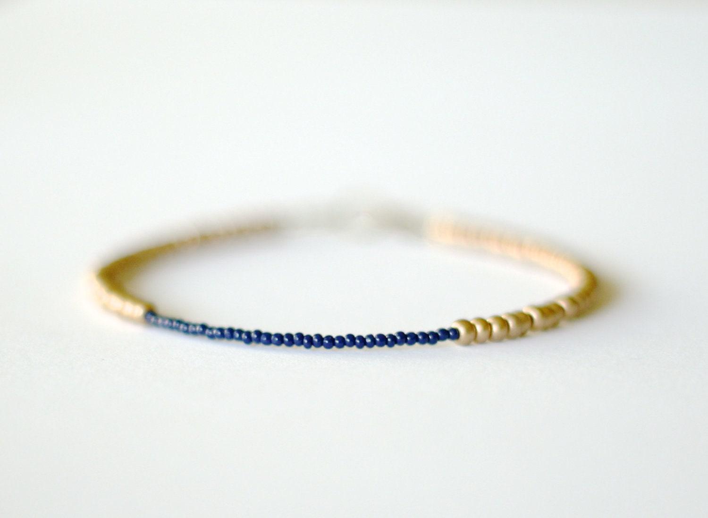 Monaco Blue and Gold Beaded Friendship Bracelet - LemonStreetJewelry