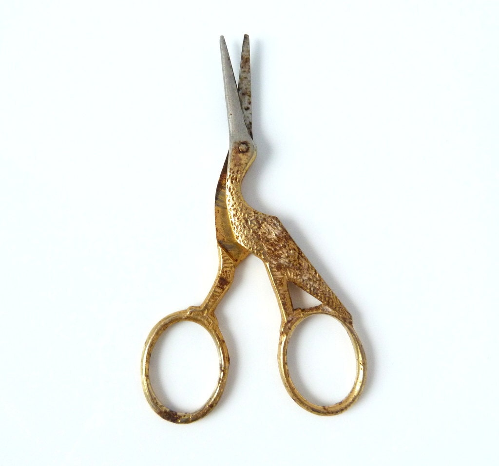Vintage Gold and Silver Toned Stork Sewing Scissors - Japan - TheOpenSesame