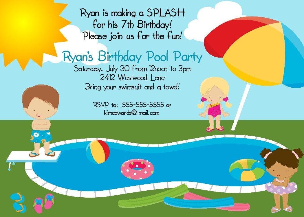 items similar to pool party birthday party invitation