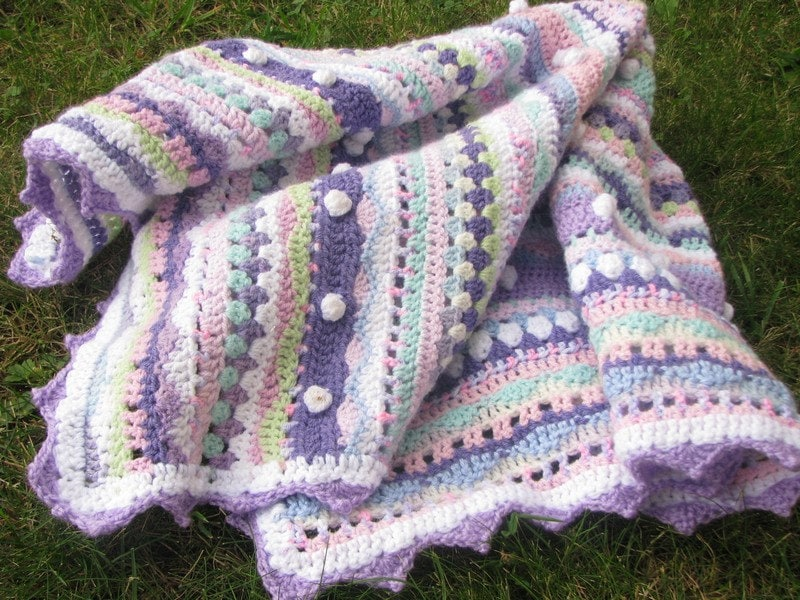 Different Crochet Patterns For Baby Blankets : Afghan crochet baby blanket bubbles colorful bright by ...