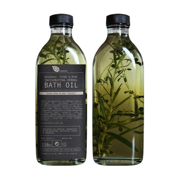 Rosemary, thyme and mint invigorating herbal bath oil 150ml - ambrebotanicals