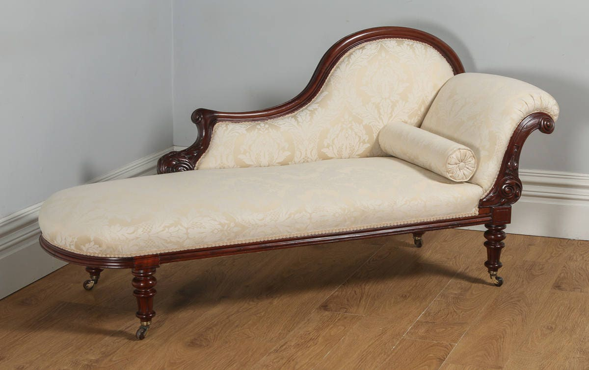 Antique English Victorian Mahogany Upholstered Floral Cream  Pale Gold Chaise Longue (Circa 1860)