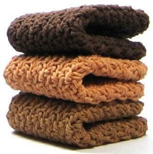 Cinnamon Coffee Dishcloths, Crochet Cotton Dish Cloths, Washcloths - Easy123