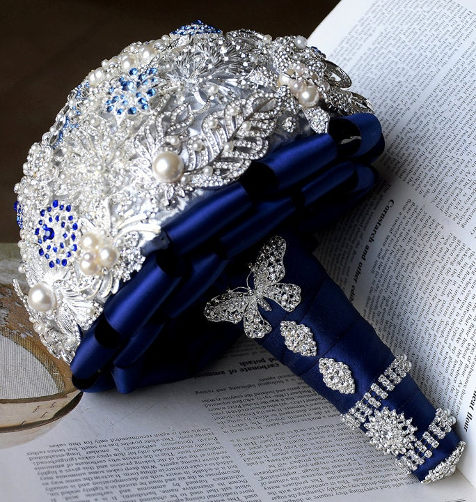 Bridal Brooch Bouquet Pearl Rhinestone Crystal Silver Royal Dark Blue Vintage Luxury Shining Like Diamond - BB030LX