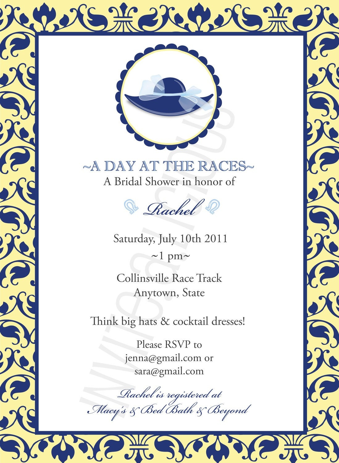 Kentucky Derby Cocktail Bridal Shower Baby Shower Invitation