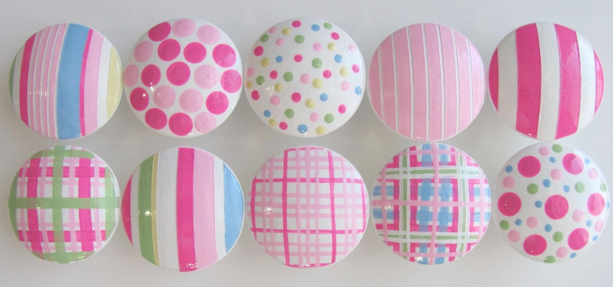 Hand Painted Knobs- Pink Parfait Assorted Knobs Stripes, Polka Dots and Plaid-Size 1 1/2 inch- Hand Painted Drawer Knobs -Set of 10