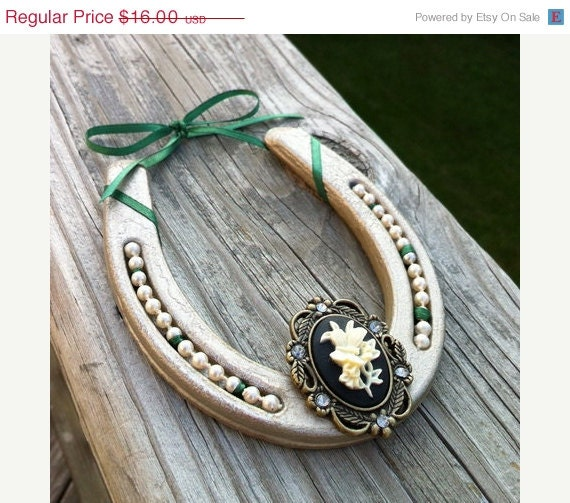 ON SALE Embellished steel horseshoe with faux pearls, a butterfly cameo and green ribbon - shabby chic - country decor - cowboy decor - MauveMoose