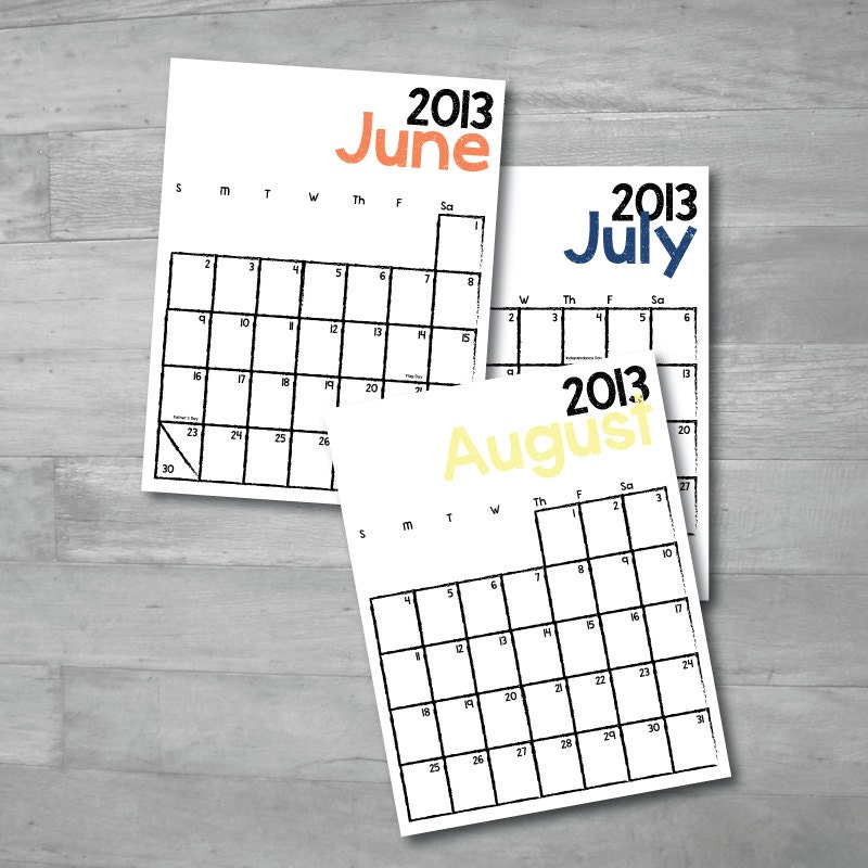Writebedu June July August 2013 Calendar
