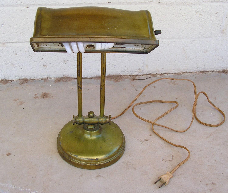 antique vintage metal bankers lamp retro adjustable desk light. Black Bedroom Furniture Sets. Home Design Ideas