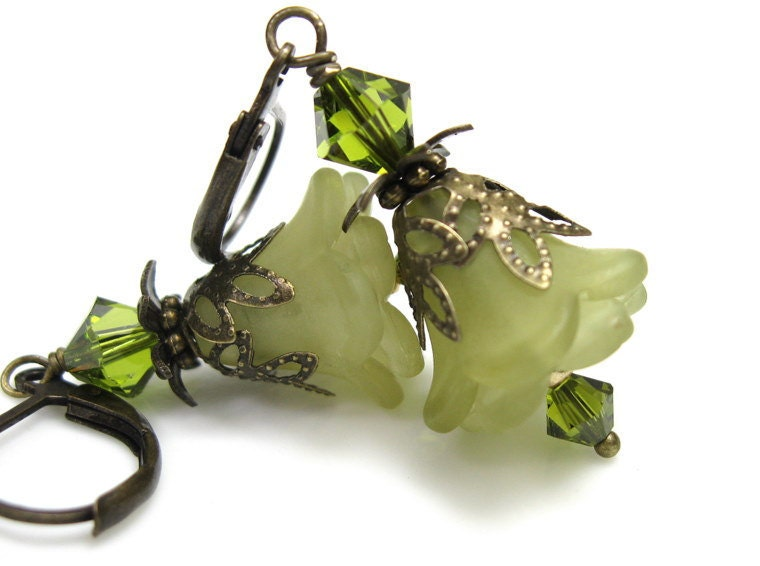 Flower Earrings, Olive Green, Swarovski, Lucite Flowers, Antiqued Brass