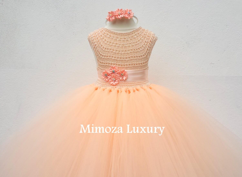 Blush Flower girl dress blush peach tutu dress princess dress blush wedding tulle dress hand knit tutu dress in blush peach pale peach