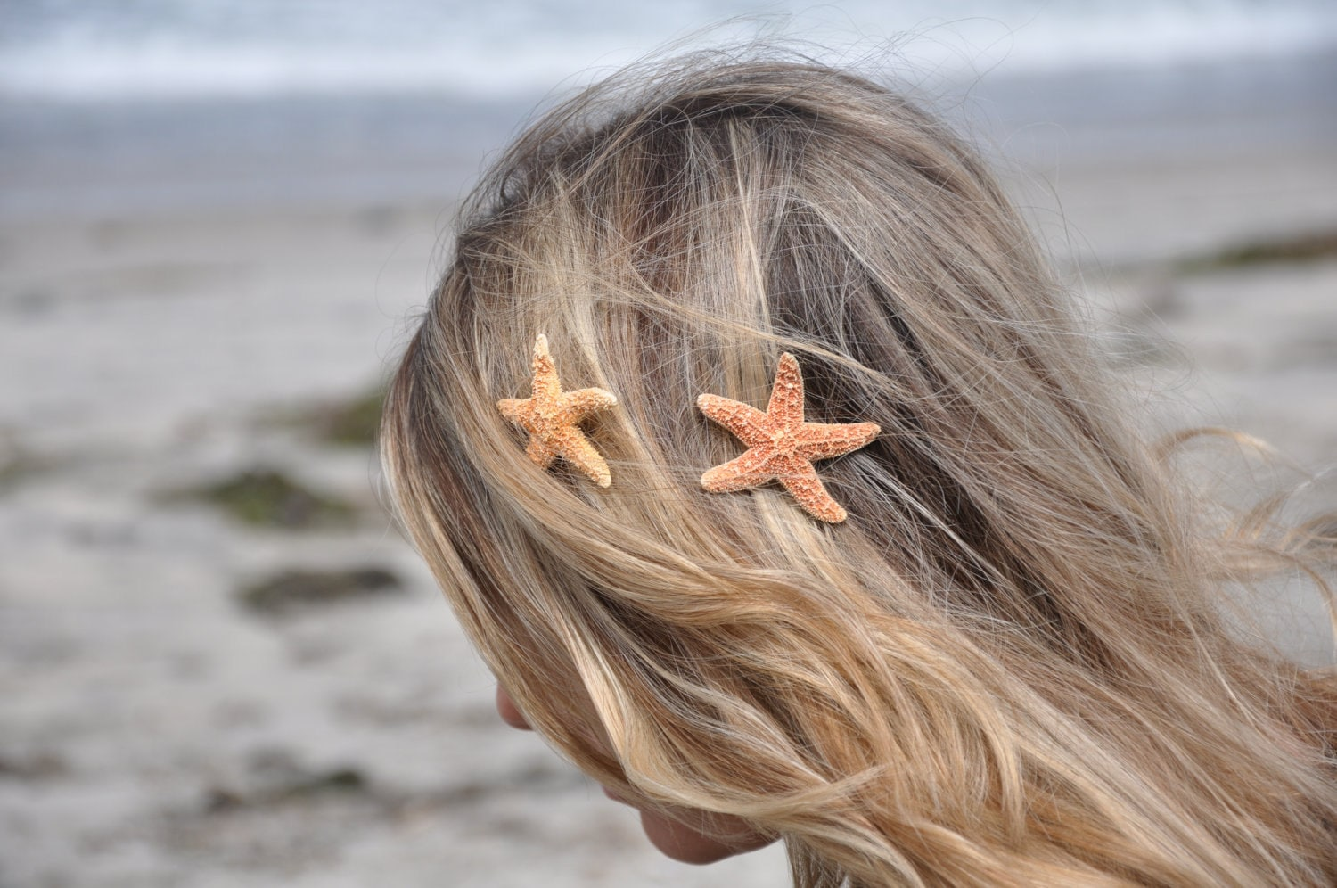Starfish Hair Clips Small, TWO Included SOOO Pretty - ShepherdoftheSea