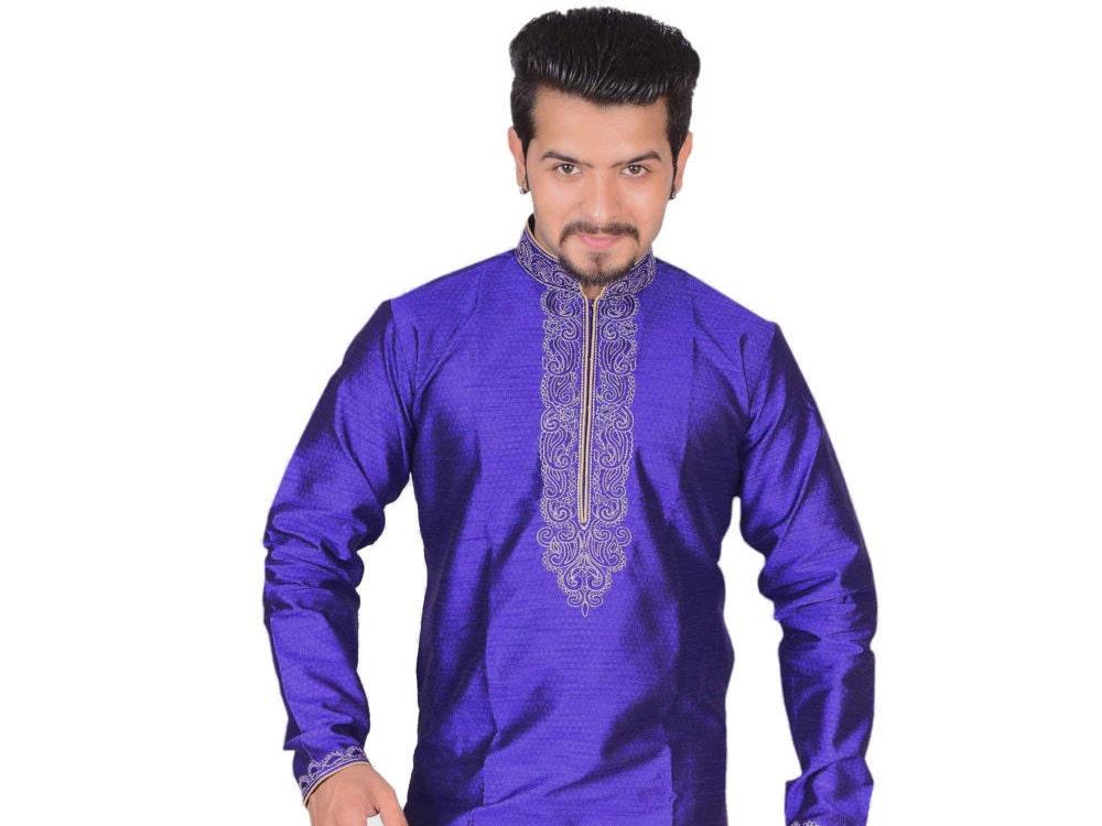 Mens Indian kurta Shalwar Kameez for wedding in BLUE Colour Bollywood style Sherwani online store shops Manchester Birmingham UK 788