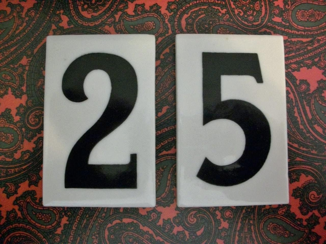 Old ceramic numbers individual number tiles by salvagenation for Ceramic tile numbers and letters