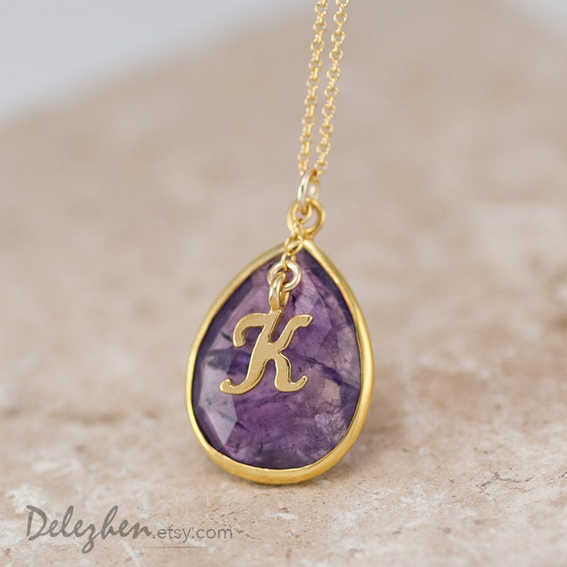 Personalized Necklace - Purple Amethyst Necklace - Script Letter - Monogram Necklace - Gold Necklace - Personalized Jewelry - delezhen