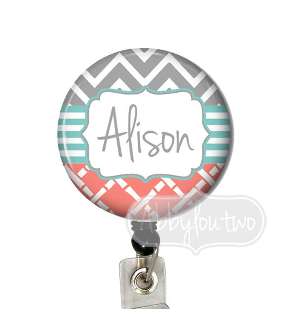 ... Reel - Name Badge Personalized with Your Name Chevron Teal Coral Gray