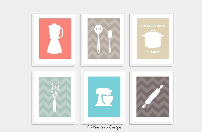 Modern kitchen art print set utensil appliance by 7wondersdesign