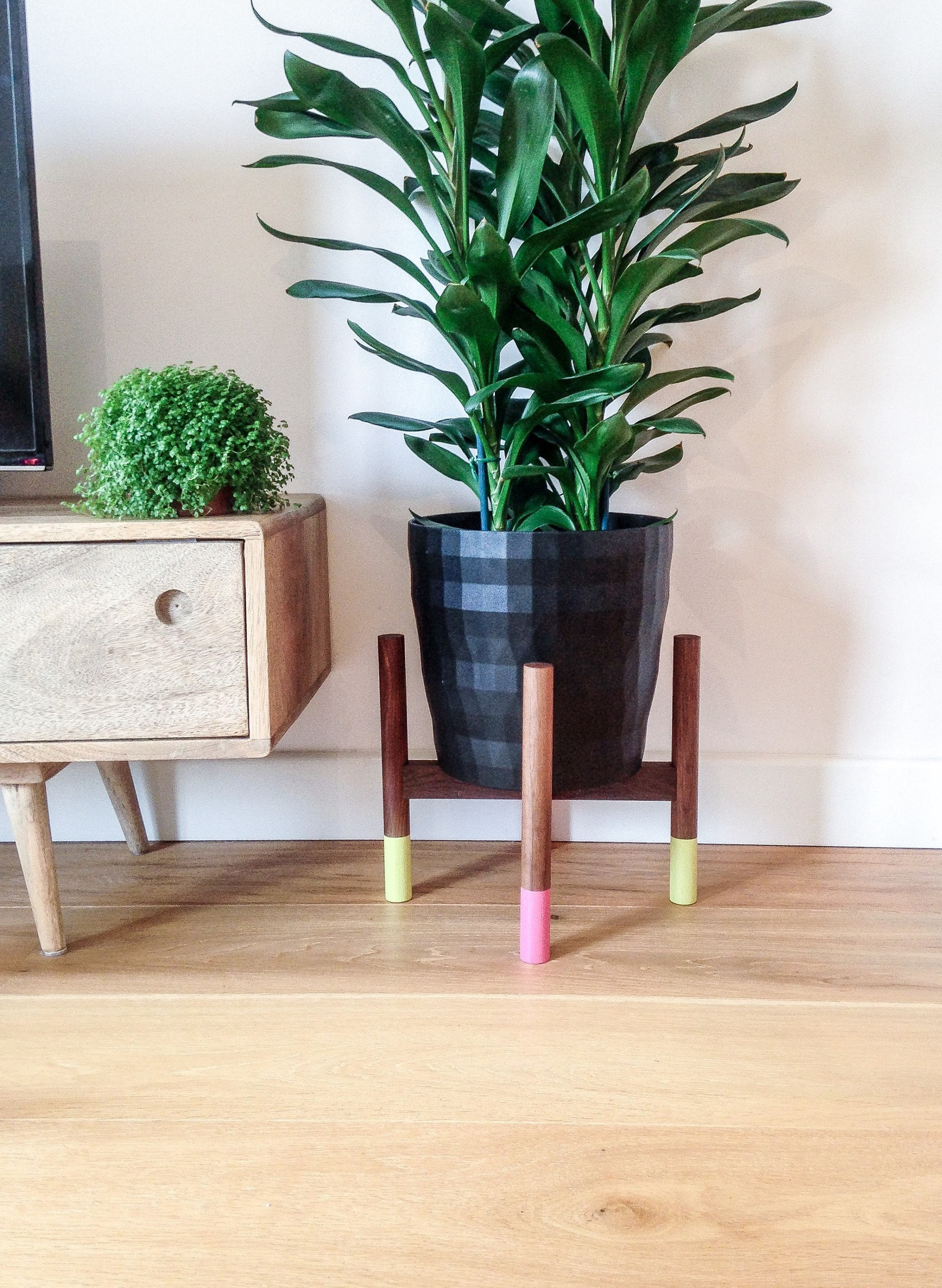 NEON painted Walnut hardwood midcentury plant stand. Beautiful cool hand crafted design.